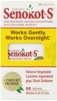 Senokot-S Natural Vegetable Laxative Ingredient Plus Stool Softener, 60 Tablets