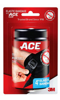 Ace Brand Black Elastic Bandage with Ace Brand Clip, 4 Inch