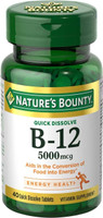 Nature's Bounty Vitamin B-12 5000 mcg, 40 Quick Dissolve Tablets