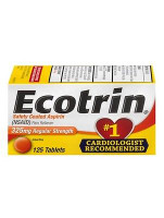 Ecotrin Safety Coated Tablets 325 Mg Regular Strength Pain Reliever 125 Count