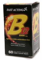 Fast Acting B12 2500 mcg Tablets Cherry Flavor 60 Tablets