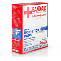 Band-Aid Adhesive Bandages 10 Large Non-Stick Pads 3 Inch X 4 Inch Pads