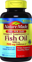 Nature Made Fish Oil 1200 mg 720 mg Omega-3 One Per Day 100 Count