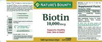 Nature's Bounty Biotin 10,000 mcg 120 Softgel Support Healthy Hair, Skin & Nails
