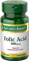 Nature's Bounty Folic Acid 800 mcg Tabs 250 CT, Supports Cardiovascular Health
