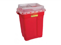Multi-purpose Sharps Container 2-Piece 18.5H X 17.75W X 11.75D Inch 9 Gallon Red Base Sliding Lid