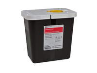 SharpSafety RCRA Waste Container 10 H X 7.25 D X 10.5 W Inch 2 Gallon Black Base White Lid Vertical Entry Hinged Lid