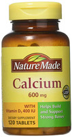 Nature Made Calcium 600 mg with Vitamin D Tabs, 120 ct