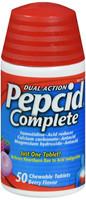 Pepcid Complete Acid Reducer + Antacid Chewable Tablets for Heartburn Relief Berry Flavor 50 ct