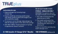 TRUEPLUS SYRINGE 5/16 INCH 31 G X 3/10 CC Insulin syringe-needle disposable 0.3 mL 100 CT