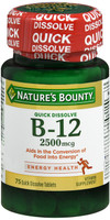 Nature's Bounty Vitamin B-12 2500 mcg 75 tablets