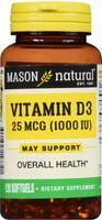 Mason Natural Vitamin D3 1000 IU Softgels 120 Counts Overall Health