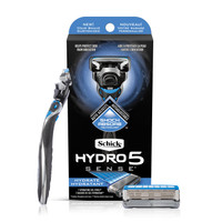 Schick Hydro 5 Sense Hydrate Razor with Shock Absorb Technology for Men 1 Handle with 2 Refills