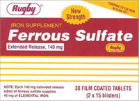 Rugby Ferrous Sulfate Extended-Release 140mg Tablets 30 Counts
