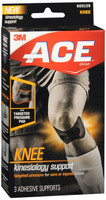 ACE Kinesiology Knee Support Flexible Fiber Pre-Cut Design 3 Count Contours to Knee, Breathable, Water-Resistant, May Be Worn for up to Three Days, Black #900139