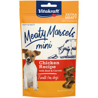 RA  Meaty Morsels Mini Treats for Dogs - Chicken Recipe with Beef & Carrots - 1.69 oz
