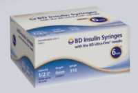 BD Insulin Syringe with Ultra-Fine Needle 1/2mL 6mm