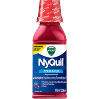 Vicks NyQuil Cold and Flu Nighttime Relief Cherry Flavor Liquid, 8 Ounce