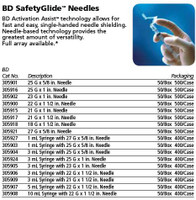 """BD Needle ONLY SafetyGlide 25g x 1"""" 50ct Box (305916)"""