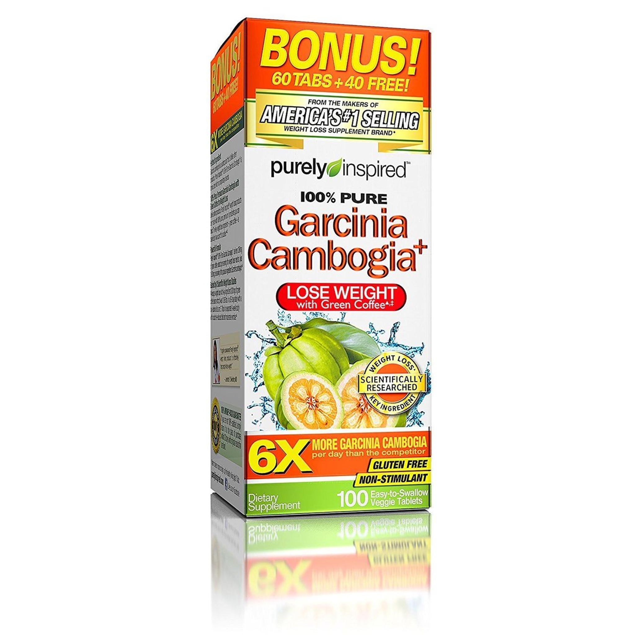 Garcinia Cambogia 1600mg Extract With Hca Extra Strength Weight Loss 100 Ct