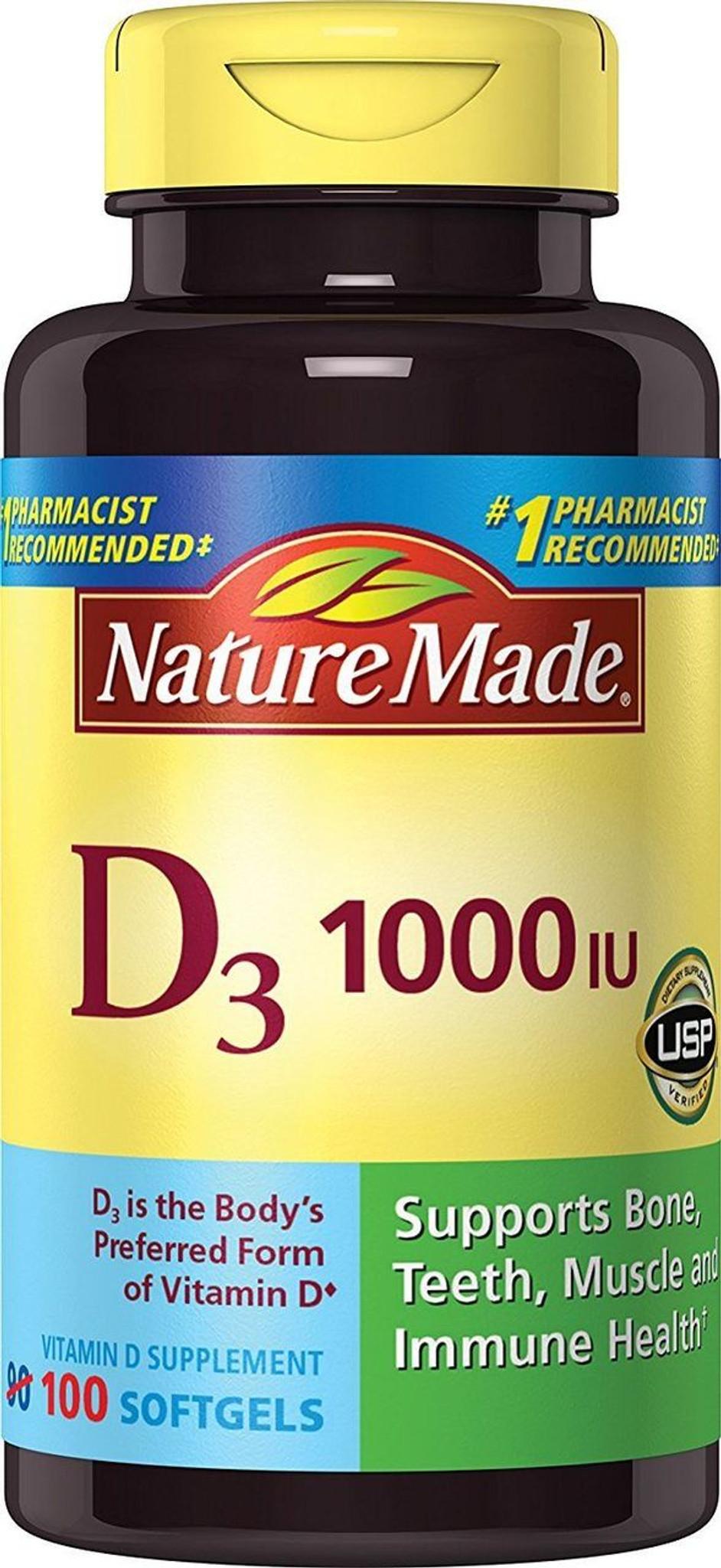 Nature Made Vitamin D3 1000 Iu Softgels 100 Ct Supports Bone Immune Health