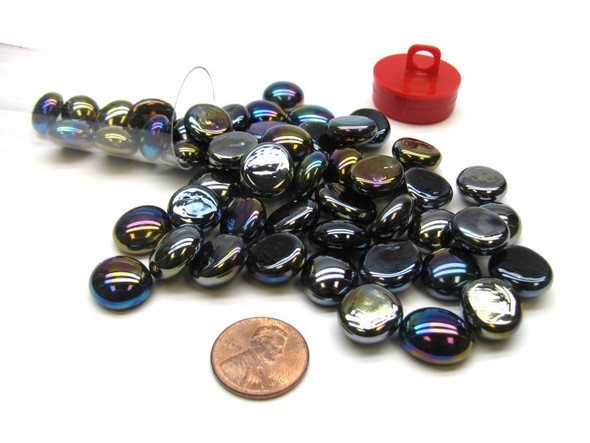 """Gaming Stones Black Opal Iridized Glass Stones (Qty 40) in 5 1/2"""" Tube"""