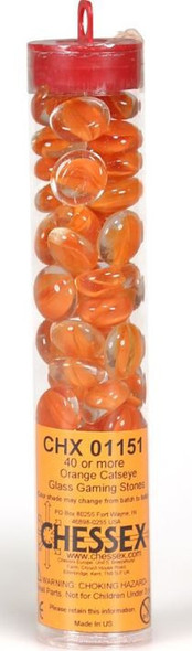 """Gaming Stones Red Catseye Glass Stones (Qty 40) in 5 1/2"""" Tube"""