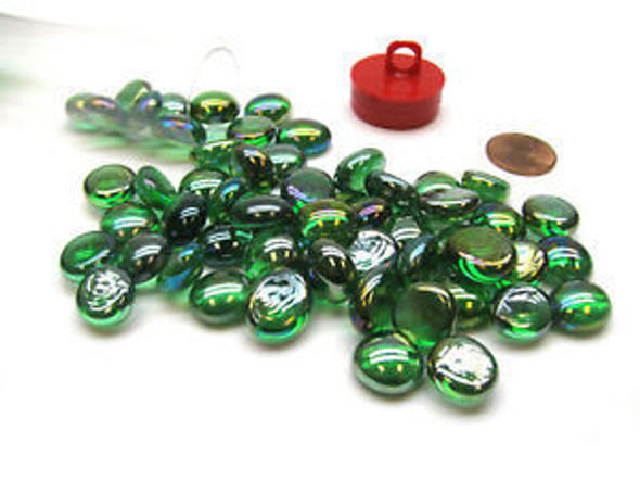 """Gaming Stones Crystal Green Iridized Glass Stones (Qty 40) in 5 1/2"""" Tube"""