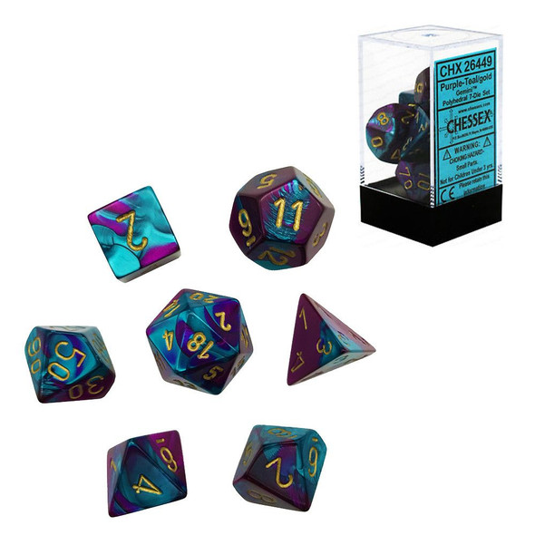 CHX 26449 Gemini Purple-Teal/Gold 7-Die Set