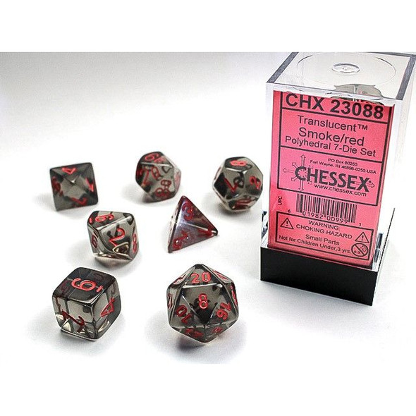 CHX 23088 Translucent Polyhedral Smoke/Red 7-Die Set
