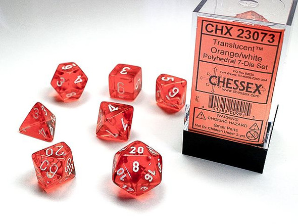 CHX 23073 Translucent Polyhedral Orange/White 7-Die Set