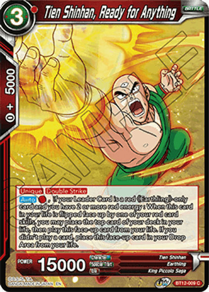 BT12-009 [C] Tien Shinhan, Ready for Anything - Foil
