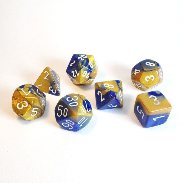 CHX 26422 Gemini Polyhedral Blue-Gold/White 7-Die Set