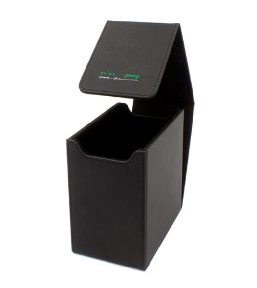 Australian Owned Card Protection!  Introducing our NEW Palms Off Gaming Deluxe PSA Storage Box, boasting a 20 PSA capacity!* We have worked to ensure only the best materials were used to bring you this storage box to market - and without a ludicrous price tag.  Features  Supremely sturdy design Strong magnet closure 1 Storage row, holding up to 20 PSA* Polyester Felt inside cover Deluxe Textured PU Leather Dimensions (Width x Height x Depth): 9.1cm x 14.9cm x 15.5cm  Protect with the best!
