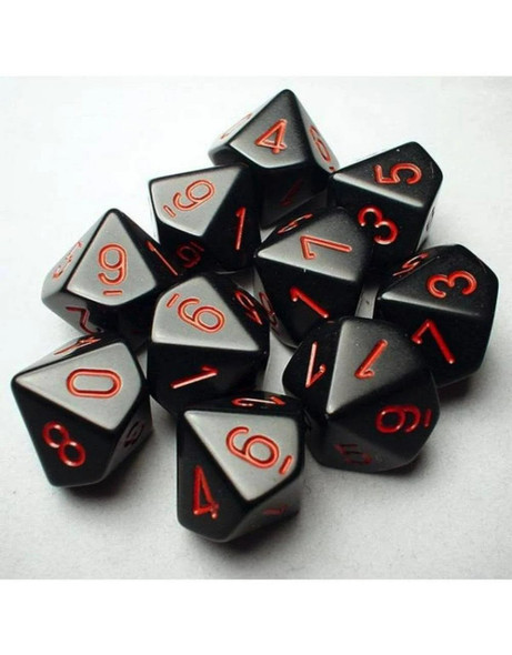 CHX26218 - Chessex Opaque D10 Dice - Black with Red Numbers
