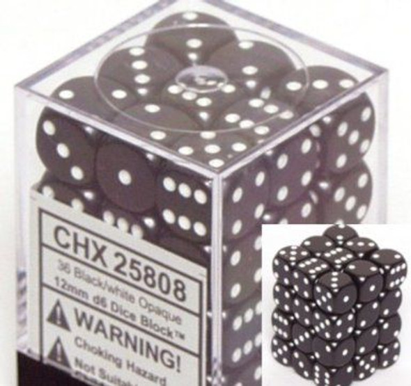 CHX 25808 Opaque 12mm d6 Black/white (36)