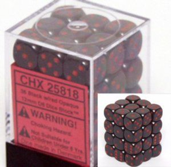CHX 25818 Opaque 12mm d6 Black/red (36)