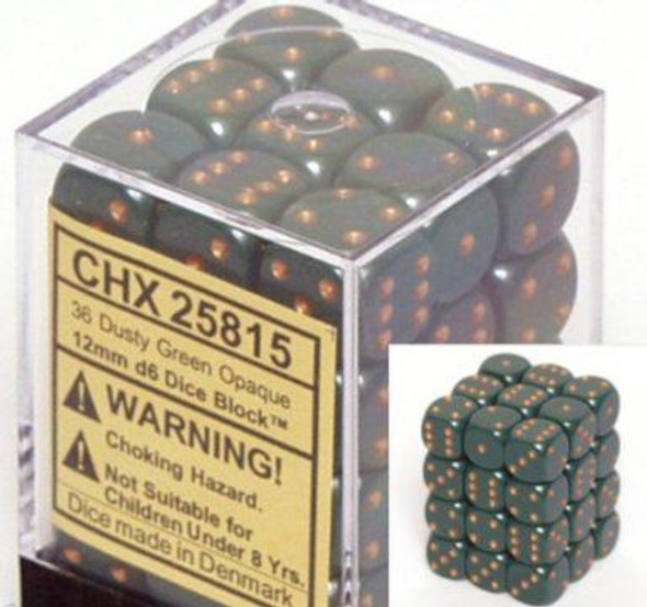 CHX 25815 Opaque 12mm d6 Dusty Green w/copper (36)