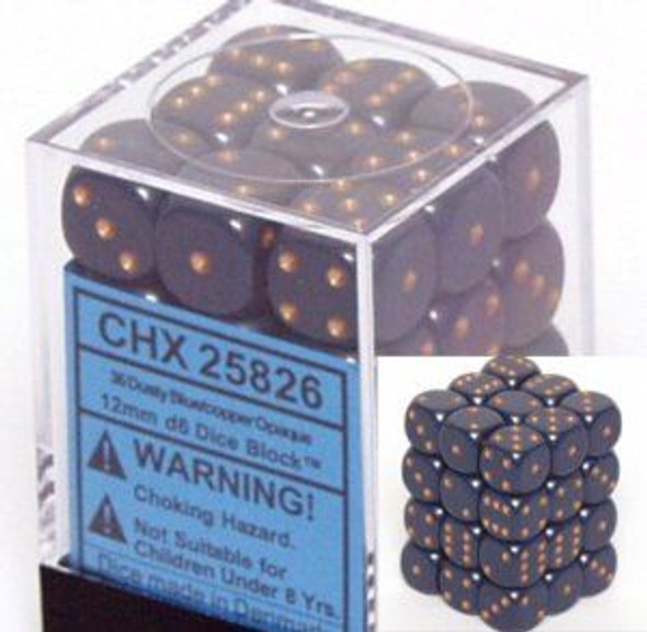 CHX 25826 Opaque 12mm d6 Dusty Blue w/copper (36)