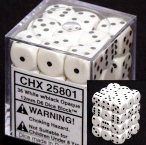 CHX 25801 Opaque 12mm d6 White/black (36)