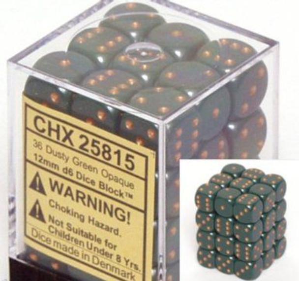 CHX 25815 Opaque 12mm d6 Dusty Green w/copper (36)
