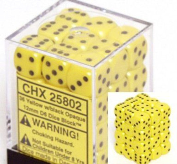CHX 25802 Opaque 12mm d6 Yellow/Black (36)
