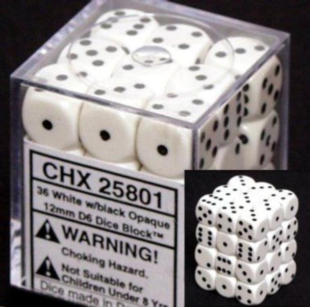 CHX 25801 Opaque 12mm d6 White/black (36)