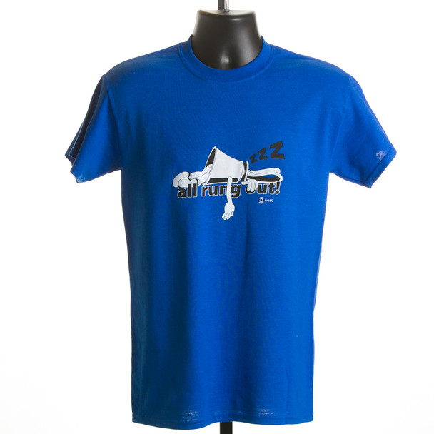 "T-shirt ""All Rung Out"" (kelly green & royal blue)"