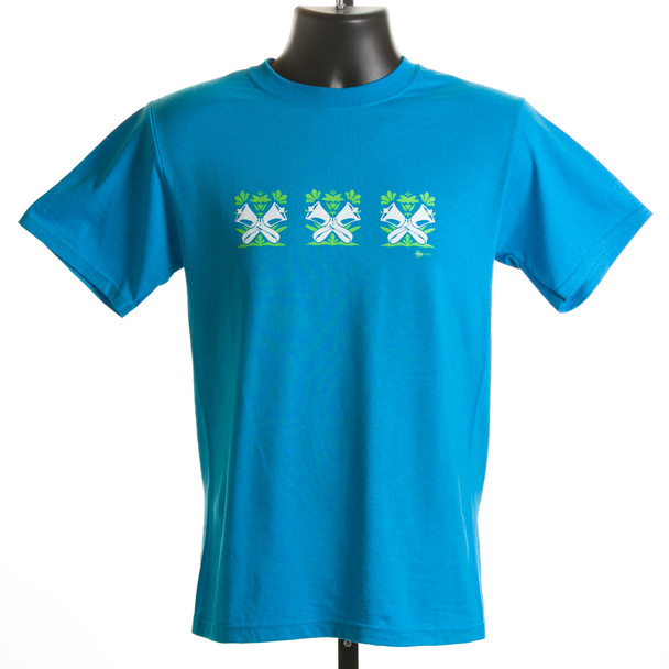 "T-shirt  ""Bells in the Garden"" - Ladies (sapphire & mint green)"