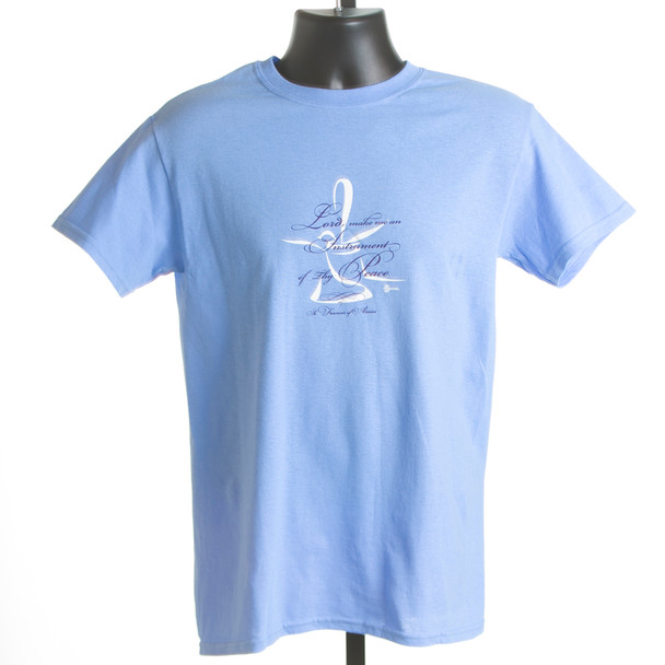 "T-shirt  ""Lord, Make Me an Instrument of Thy Peace"" (Carolina blue & coral)"
