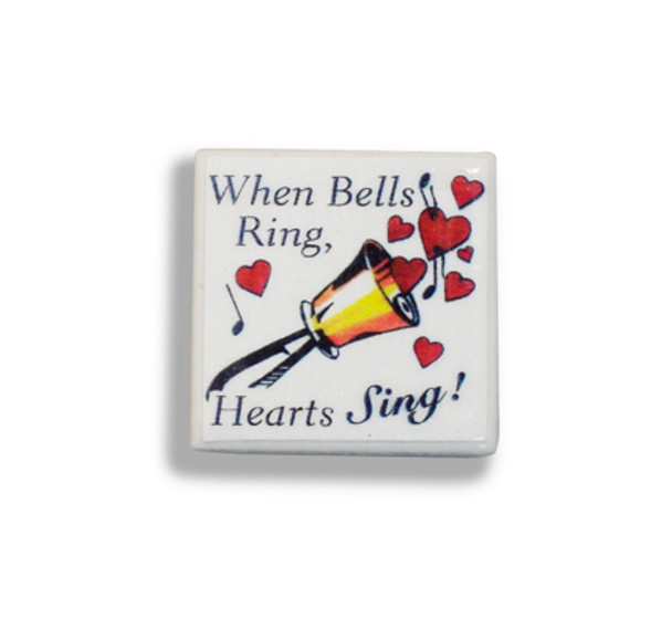 "Tiny Tile Magnet - ""When Bells Ring, Hearts Sing"""