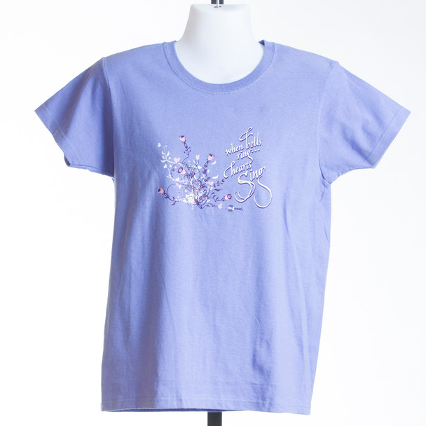 "T-shirt  ""When Bells Ring, Hearts Sing"" - Ladies (violet and azalea)"