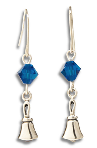 Handbell Earrings w/ Swarovski Crystal Bead - SS