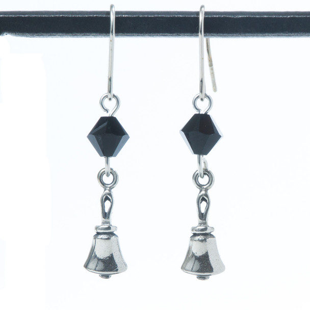 Handbell Earrings w/ black crystal bead – SS
